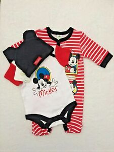 Disney Mickey Mouse Baby Boys 3pc Gift Set Babygrow Sleepsuit Vest & Hat Age 6-9