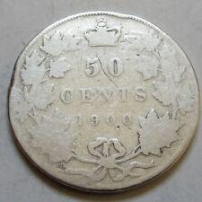1900 Canada Silver  Fifty 50 Cents Half Dollar Coin. (RJ70)