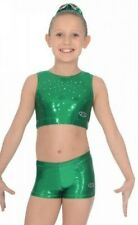 """new Zone Gymnastic Dance cheer crop top AND SHORTS set green 30"""""""