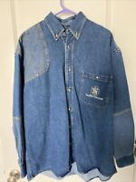 MENS Smith and Wesson Button Down Long Sleeve  Denim Shirt Size Large  EUC