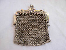ANTIQUE FRENCH SOLID SILVER MESH PURSE,LATE 19th CENTURY.
