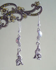 Howling Wolf & Silver Crescent Moon Dangly Earrings - Pagan Gothic Fantasy