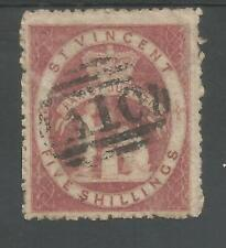ST VINCENT SG32 THE VERY SCARCE 1880 QV 5/- ROSE-RED FINE USED CAT £1750