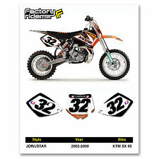 2002-2008 KTM SX 65 JDR/JSTAR Number Plates Graphics by Enjoy Mfg