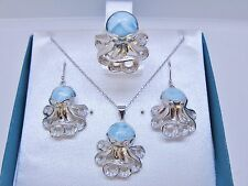 Larimar natural premium Octopus Set W/Topaz Pave Accent 925 Sterling Silver 21.8