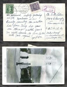 p1486- KAMLOOPS BC 1942 Postage Due Postcard. Gowen Sutton Real Photo. Cenotaph✉
