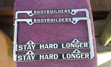 """TOUGH FIND......1970""""s License Frames......Bodybuilders Stay Harder....Longer..."""