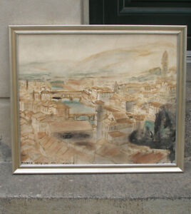 Hanns Kobinger ( Austrian, 1892) Florence cityscape. Tuscany, Italy. Dated 1934.
