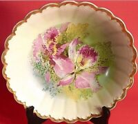 "VINTAGE BOWL HAND PAINTED 10 3/4"" FLUTED LILY PATTERN THICK GOLD BORDER CABINET"