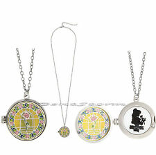 Disney Beauty & Beast Belle Rose Stained Glass Locket Cameo Pendant Necklace