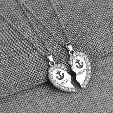 2pcs Split Heart Rhinestone Best Friends Engraved Pendant Friendship Necklace UP