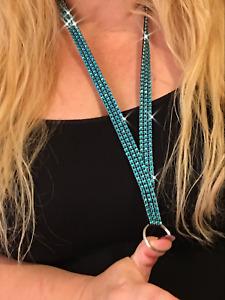 """Turquoise Faux Rhinestone Lanyard Badge Key ID Holder Washable Black Nylon 1/2"""""""