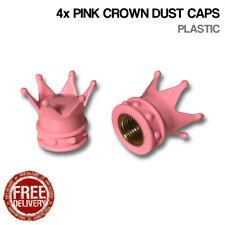 4x Pink Crown Car Bike Motorcycle BMX Wheel Tyre Valve Plastic Dust Caps Dusties