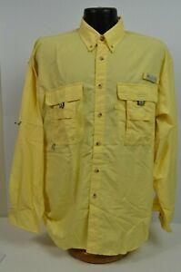 PFG Columbia Men's Shirt Fishing Sunprotect Angler's Yellow Medium Long Sleeve