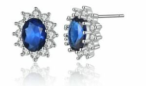925 Sterling Silver Plated Classic Blue Sapphire Oval CZ Stud Earrings Jewellery