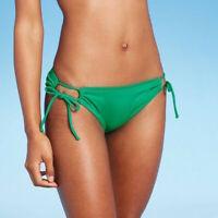 New: Medium Coverage Keyhole Hipster Bikini Bottom - Kona Sol - Green - Size: XS