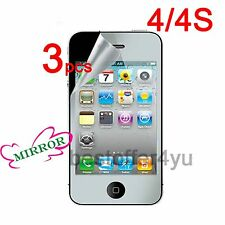 3x Mirror LCD Screen Protector Guard Cover Protective film for Apple iPhone 4 4S