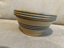 Vintage Watt Pottery Mixing Bowl Blue Banded Yellow Ware