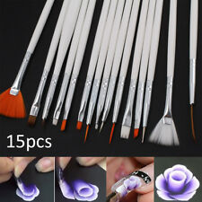 15 X Nice Nail Art Gel Painting Drawing Dotting Pen Polish Tips Brush Set White