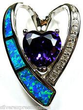 10mm Corazón Amatista & Azul Ópalo De Fuego Incrustación Plata de ley 925