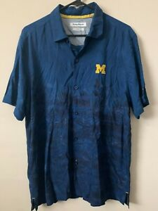 Mens Tommy Bahama Collegiate Series Michigan Blue Hawaiian Shirt Size L Trim Fit