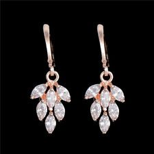 1pair 18k Gold Plated Lovely Leaves Cubic Zirconia Women's Hoop Dangle Earring