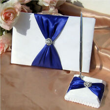 White Wedding Guest Register Book Pen Set Blue Ribbon & Diamante Ring 70+ Pages