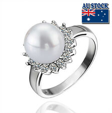 925 Sterling Silver filled Flower Shape Stud Ring With Pearl and Crystal