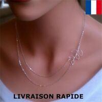 Collier pendentif bijoux original feuille double chaîne femme cadeau Soirée Mode