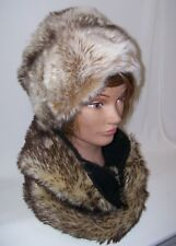 "Women's Round Faux Fur Hat White & Brown Blended Tones 21"" Crown"