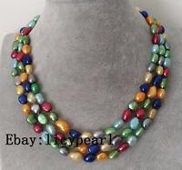 3 Reihen 8-9mm mehrfarbig baroque Süßwasser Perle Halskette, 17-19 inch