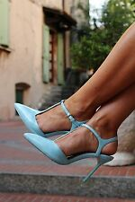 ZARA SKY BLUE HIGH HEEL MULES WITH ANKLE STRAP SIZE UK 8 EU 41 USA 10