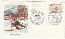 ENVELOPPE 1 er jour timbrée JEUX OLYMPIQUES D'HIVER SAPPORO JAPAN 1972 SKI