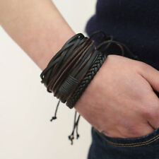 Man Adjustable Multi Row Leather Bracelet Braided Wrist Band Wristband Bangle