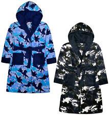 Boys Dinosaur Dressing Gown Kids New Fleece Hooded Robe Blue Khaki Age 7 - 13 Yr