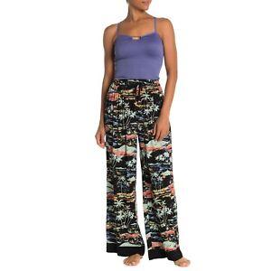 Free People Black Floral Tropical Blue Lagoon Wide Leg Lounge Pants NWT M