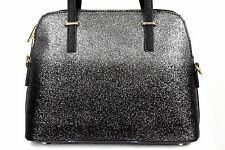 Black Charcoal Metallic Glitter Carry All Vegan Leather Satchel Handbag