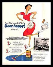 1951 Johnson's Glo Coat Floor Wax Polish Vintage PRINT AD Housewife Cleaning 50s