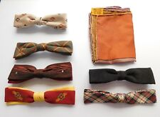 Vintage 1950'S Bow Ties ~ 6 ~ Plus One Hand Rolled Suit Handkerchief Handky