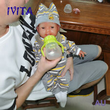 IVITA 20'' Silicone Reborn Baby Girl Smile Newborn Baby Doll Can Take pacifier