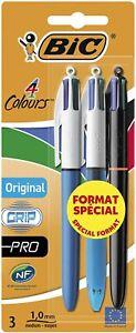BIC 4 Multi Colour Variety Original Grip Pro Ballpoint Pen 3 Pack