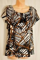 women's CHICO peasent top size 2 large (12) black & brown lined elastic neck