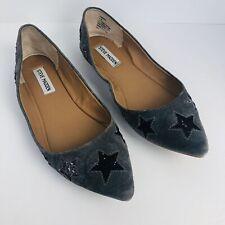 Steve Madden Haanna Women's Flats Light Gray with Glittery Stars Suede Size 10