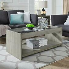 Classic Brands Rustic Farm House Solid Wood Coffee Table with Glass Top Antiq...