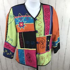 INDIGO MOON Women's Jacket Size Small Patchwork India Bright Colorful Abstract