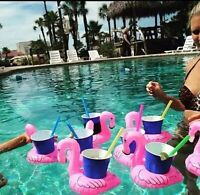 10-Stück Flamingo Aufblasbar Getränkehalter Pool Schwimm Zubehör Kühlung Bier