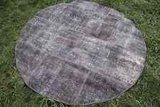 """Vintage Handmade Turkish Patchwork Overdyed Gray Round Oushak Rug 63""""x63"""""""