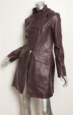 CHLOE Womens Muted Purple Leather Double Breasted Long Military Coat Jacket 4-36