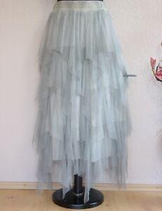 "Moonshine Fashion° Lagenlook ""Hexen"" Zipfel Tüllrock Batik ~  Hellgrau ~ 3"