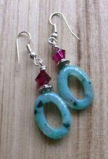 Crystal Beads Hoop Sterling Silver Handcrafted Earrings